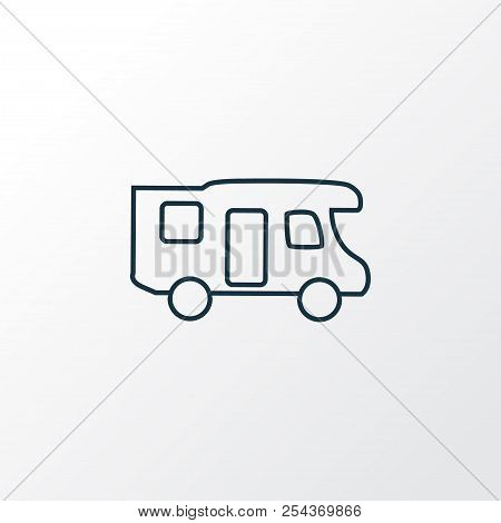 Campervan Icon Line Symbol. Premium Quality Isolated Caravan Element In Trendy Style.