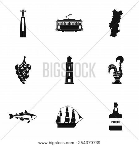 Seaport Icons Set. Simple Set Of 9 Seaport Vector Icons For Web Isolated On White Background