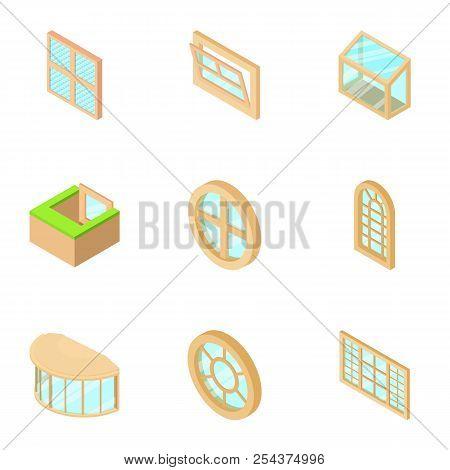 Country House Window Icons Set. Isometric Set Of 9 Country House Window Vector Icons For Web Isolate