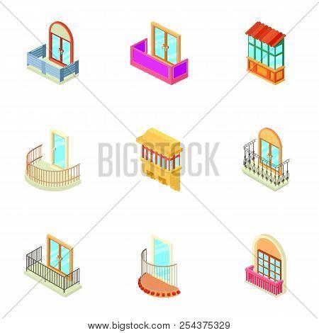 House Window Icons Set. Isometric Set Of 9 House Window Vector Icons For Web Isolated On White Backg