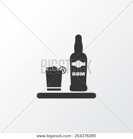 Ice Rum Icon Symbol. Premium Quality Isolated Liqueur Element In Trendy Style.