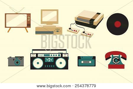 A Set Of Icons Of Old Vintage Retro Electronics, A Kinescope Tv, A Cassette Tape Recorder, A Vinyl R