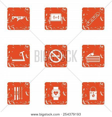 Medical Attention Icons Set. Grunge Set Of 9 Medical Attention Vector Icons For Web Isolated On Whit