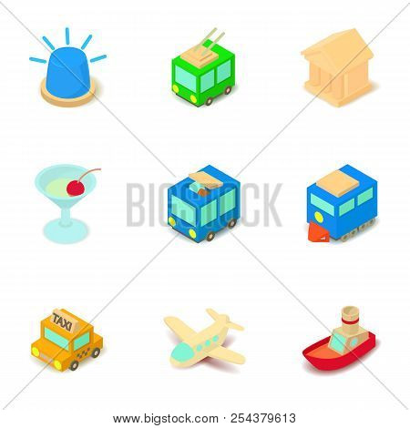 Sightseeing Tour Icons Set. Isometric Set Of 9 Sightseeing Tour Vector Icons For Web Isolated On Whi