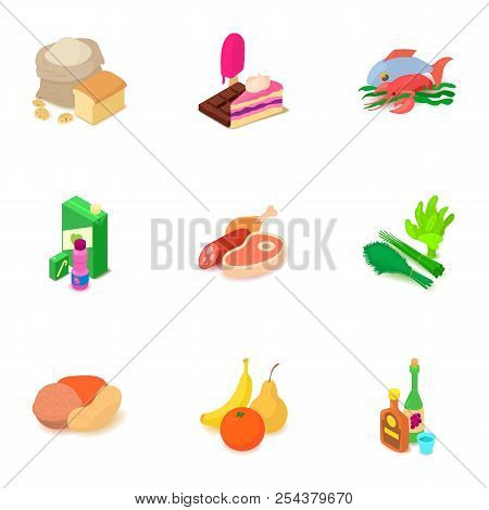 Foodstuff Icons Set. Isometric Set Of 9 Foodstuff Vector Icons For Web Isolated On White Background