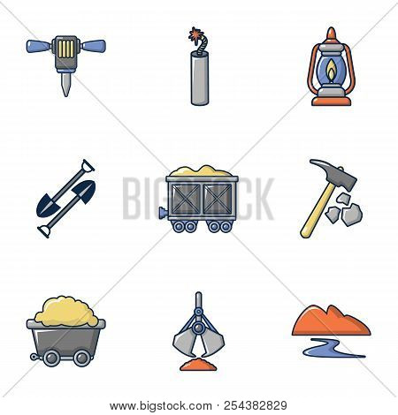 Ore Mining Icons Set. Cartoon Set Of 9 Ore Mining Vector Icons For Web Isolated On White Background