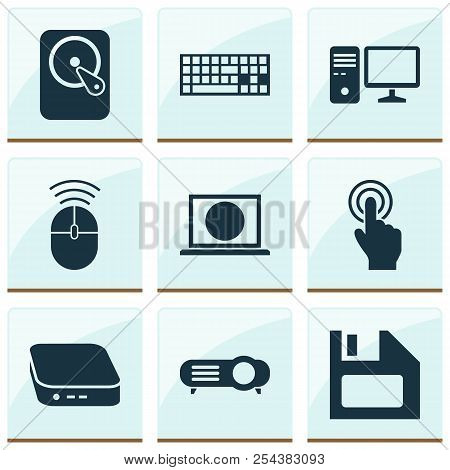 Computer Icons Set With Touchscreen, Pc, Mini Pc And Other Presentation Elements. Isolated  Illustra