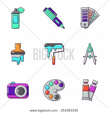 Shade Icons Set. Cartoon Set Of 9 Shade Vector Icons For Web Isolated On White Background