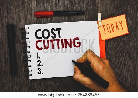 Text Sign Showing Cost Cutting. Conceptual Photo Measures Implemented To Reduced Expenses And Improv