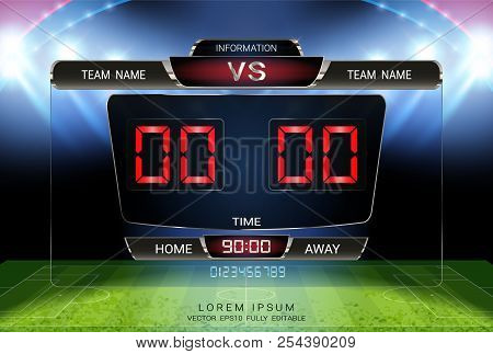 Digital Timing Scoreboard, Football Match Team A Vs Team B, Strategy Broadcast Graphic Template For