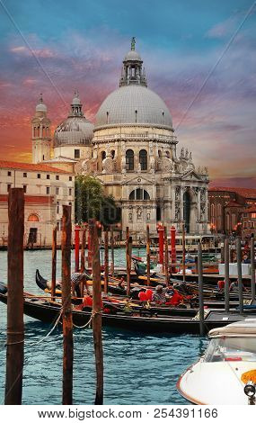 Venice, Italy, Jun 8, 2018: View Of Grand Canal And Basilica Di Santa Maria Della Salute In Venice,