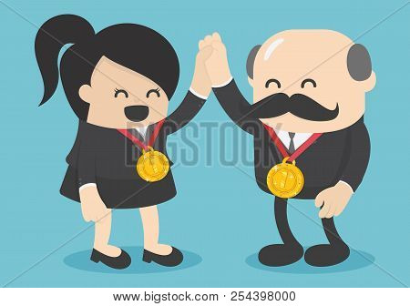 Concept Of Success. Successful Female Business Has Gold Medalists.