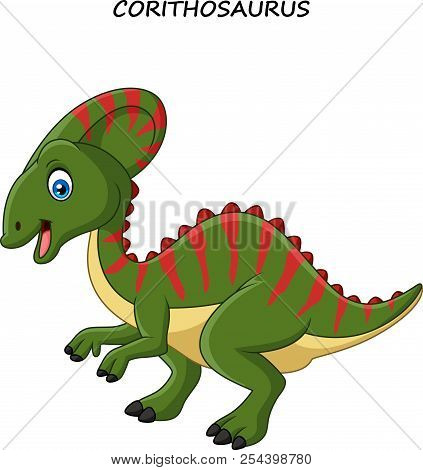 Vector Illustration Of Cartoon Happy Corythosaurus On White Background