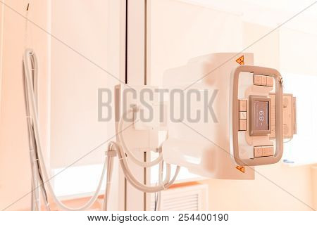 X-ray Machine Close Up In Contemporary Medical Center.device With X-ray Table In A Hospital.x-ray Eq