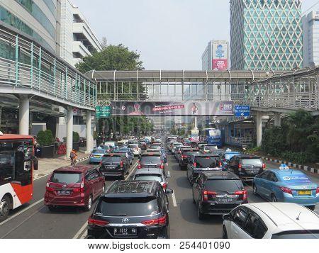 Jakarta, Indonesia - August 2, 2018: Traffic On Jalan Thamrin Around Bundaran Bank Indonesia (bank I