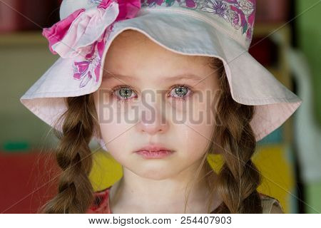 Belarus, Gomel, May 29, 2018. The Kindergarten Is Central. Open Day.the Little Girl Is Crying. Tears
