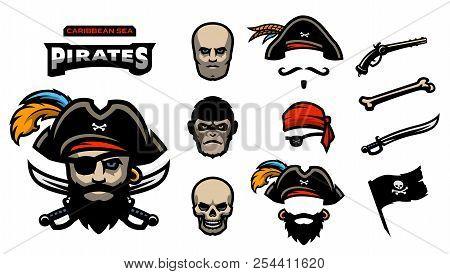 A Set Of Elements For Creating Pirated Logos. Man, Monkey And Skull. Hats, Bandana, Mustache, Beard.
