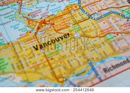 Vancouver Canadian City On A Detailed Map