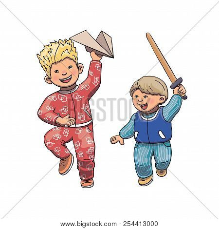 Vector Illustration Of Funny Kids Playing, Running And Jumping Outside. Brothers Cartoon Characters.