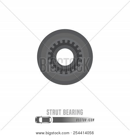Strut Bearing Image. Spare Parts Icon In Greyscale Colors. Editable Vector Illustration Isolated On