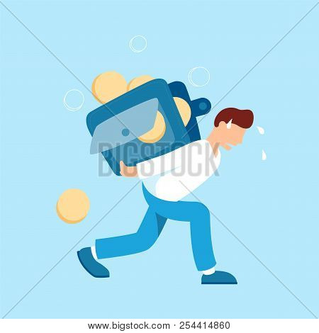 Man Carrying A Heavy Wallet With Coins Vector Illustration In Flat Design. Tired Hard Working Person