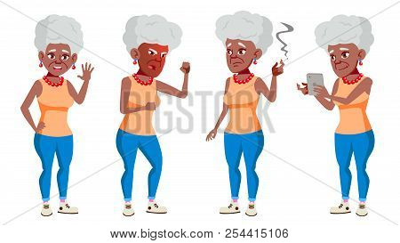 Old Woman Poses Set Vector. Black. Afro American. Elderly People. Senior Person. Aged. Comic Pension