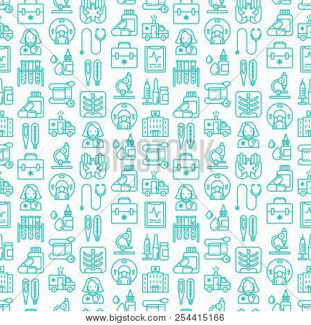 Medicine Seamless Pattern With Thin Line Icons: Doctor, Ambulance, Stethoscope, Microscope, Thermome