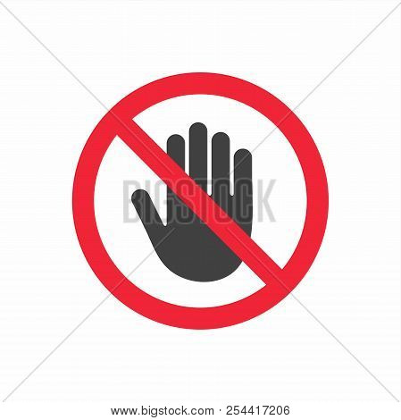 No Entry Prohibition. Do Not Touch. Forbidden Sign With Stop Hand Glyph Icon.