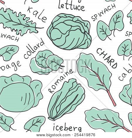 Hand Drawn Colorful Doodle Vegetables Seamless Pattern. Vegetables Flat Icons Seamless Pattern Of Le