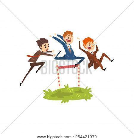 Businessmen Jumping Over Hurdles, Competition In Achieving The Goal, Business, Career Development Co