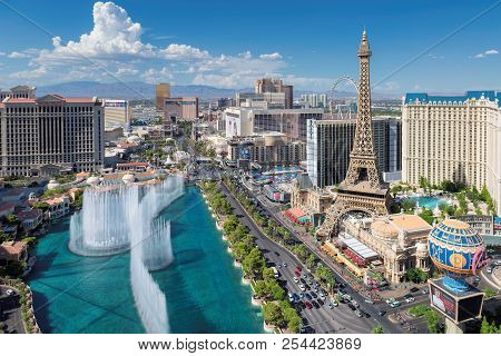 Aerial View Of Las Vegas Strip At Summer Sunny Day On July 24, 2018 In Las Vegas Strip, Usa. The Str