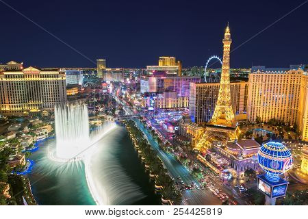 World Famous Vegas Strip In Las Vegas, Nevada As Seen At Night On July 24, 2018 In Las Vegas, Usa. T