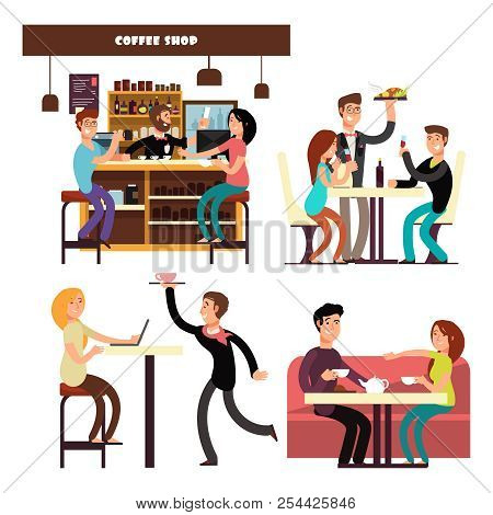Cafe, Coffee Shop, Restaurant With Meeting And Drinking Coffee People Vector. Cartoon Character Happ