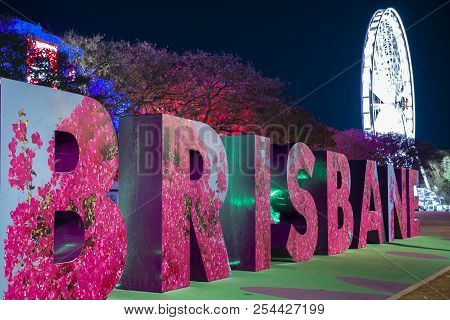 Brisbane, Queensland, Australia - August 19th 2018: View Of The Brisbane Sign And Wheel At Southank,