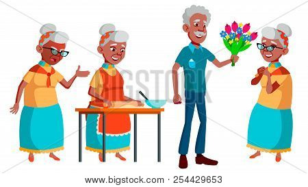 Old Woman Poses Set Vector. Black. Afro American. Elderly People. Senior Person. Aged. Friendly Gran