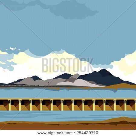 Vector Horizontal Illustration Of A Reservoir, City Dam, Skyline Highlands, Floodgates