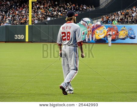 Washington National Right Fielder Jayson Werth Stands In The Outfield