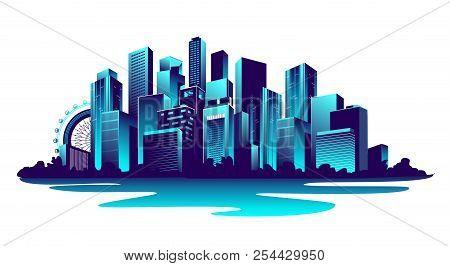 vector horizontal illustration of a neon-populated metropolis on a white background poster