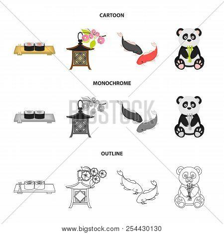 Sushi, Koi Fish, Japanese Lantern, Panda.japan Set Collection Icons In Cartoon, Outline, Monochrome