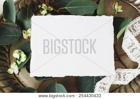 Styled Stock Photo. Feminine Wedding Still Life Composition, Mockup Scene. Closeup Of Blank Cotton P