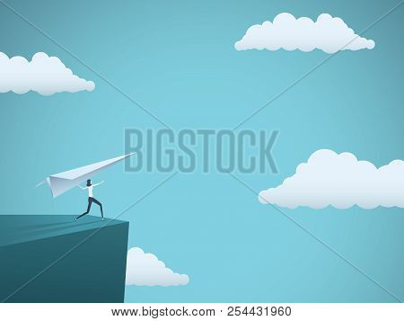 Businesswoman Throwing Paper Plane Vector Concept. Symbol Of Success, Freedom, Adventure, Challenge,