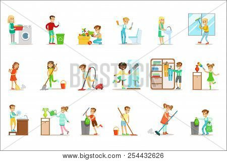 Children Helping With Home Cleanup, Washing The Floor, Throwing Out Garbage And Watering Plants poster
