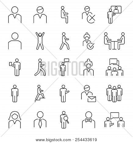 Person Symbols, Basic Outline Vector Icons Collection. Male, Female And Group Of People Basic Positi