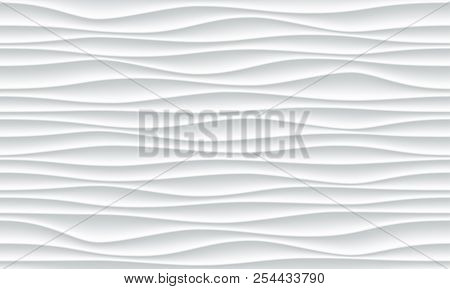 White Wave Pattern Background With Seamless Horizontal Wave Wall Texture. Vector Trendy Ripple Wallp