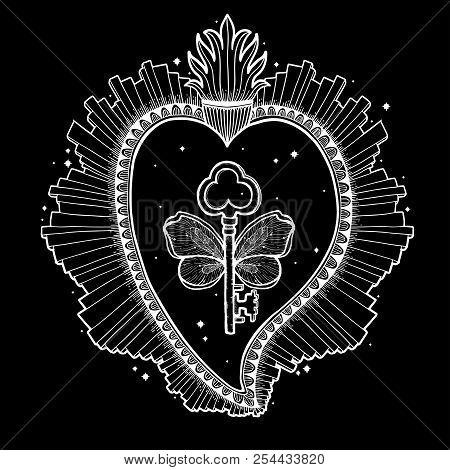 Sacred Holy Heart Jesus. Sacrament Religion Symbol. Mystical Icon Hand Drawn Print. Mexico Simbol.