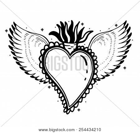 Sacred Holy Heart Jesus. Sacrament Religion Symbol. Mystical Icon Hand Drawn Print. Mexico Simbol.ve