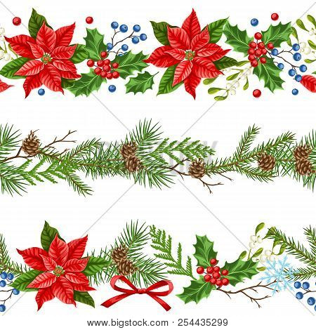 Seamless Pattern With Winter Plants. Merry Christmas Holiday Decoration. Forest Branches Background