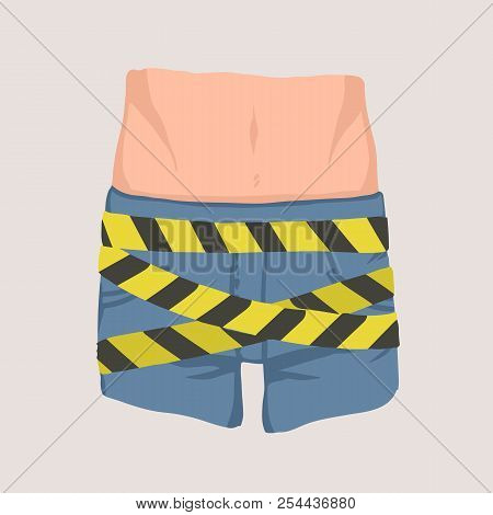 Men's Groin Coiled With Barricade Or Caution Tape. Concept Of Impotence, Erectile Dysfunction Or Mal