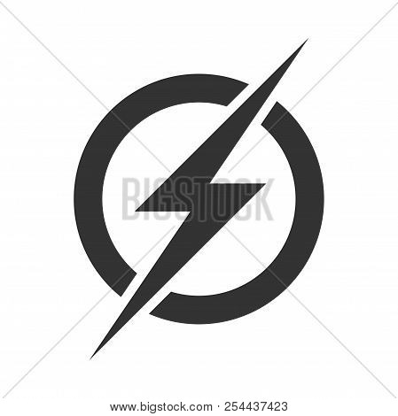 Power Lightning Logo Icon. Vector Electric Fast Thunder Bolt Symbol Isolated On Transparent Backgrou