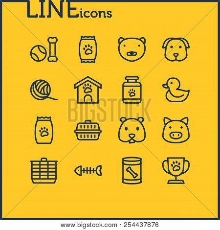 Illustration Of 16 Pet Icons Line Style. Editable Set Of Pet Food, Pet Medicine, Pet Toys And Other
